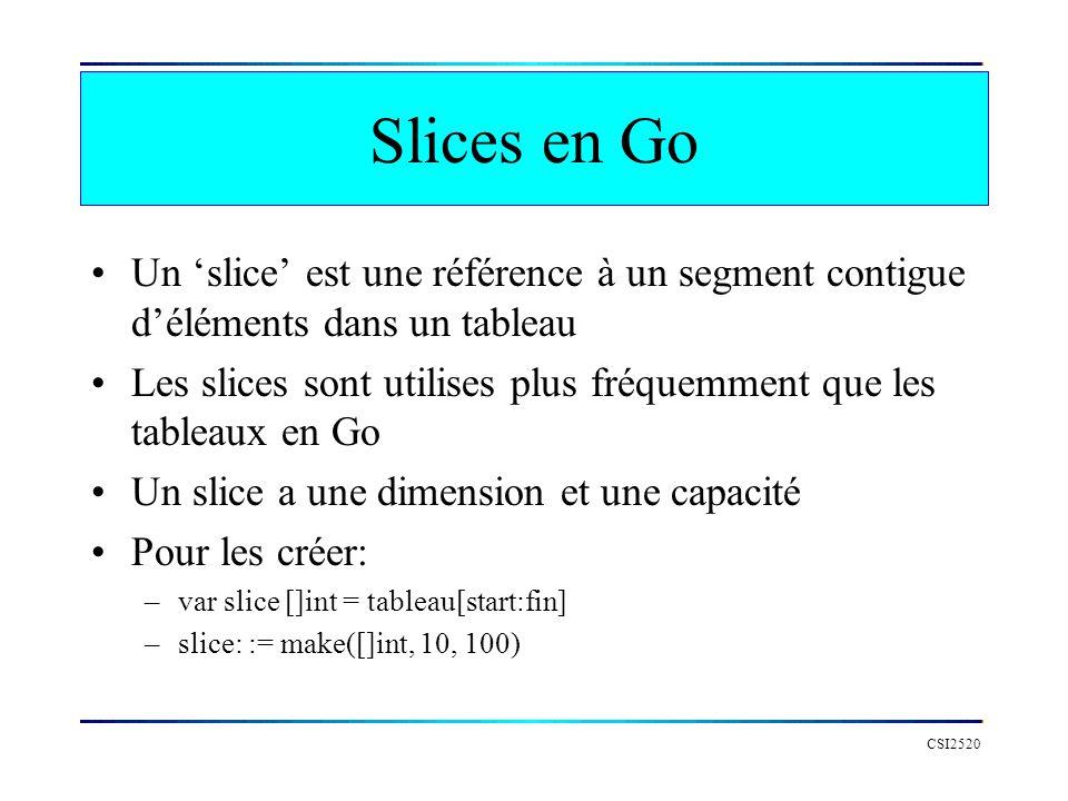 Slices en Go Un slice est une référence à un segment contigue déléments dans un tableau Les slices sont utilises plus fréquemment que les tableaux en