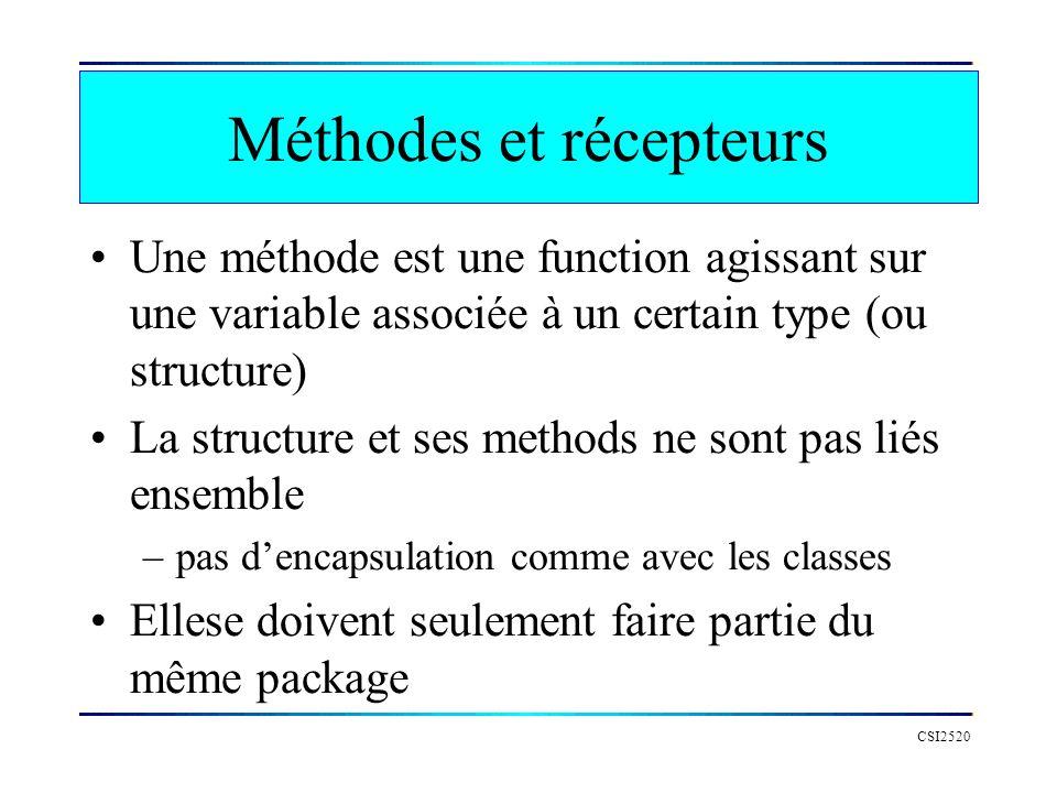 Définition et appel dune méthode CSI2520 // structure type Point struct { x float64 y float64 } // methode func (pt *Point) norme() float64 { return math.Sqrt(pt.x*pt.x + pt.y*pt.y) } func main() { a := Point{2.,4.} // appel a la methode n := a.norme() fmt.Printf( resulat= %f\n , n) }