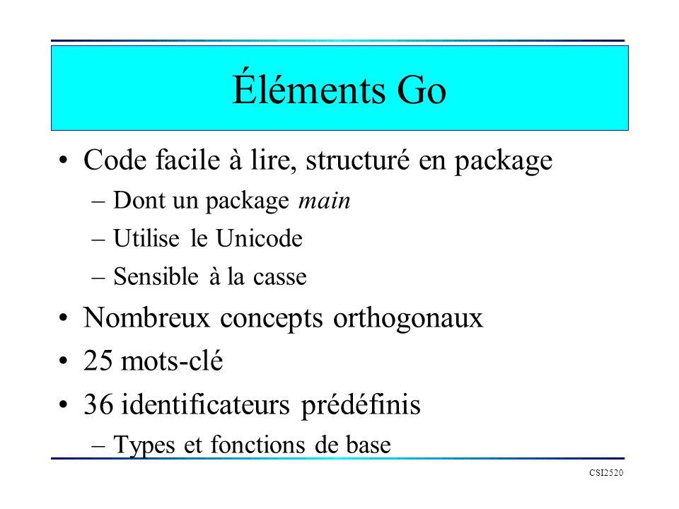 Un petit programme Go CSI2520 package main import fmt // importation func main() { fmt.Println( Hello le monde ) } // lettre majuscule donne une // visibilité externe au package