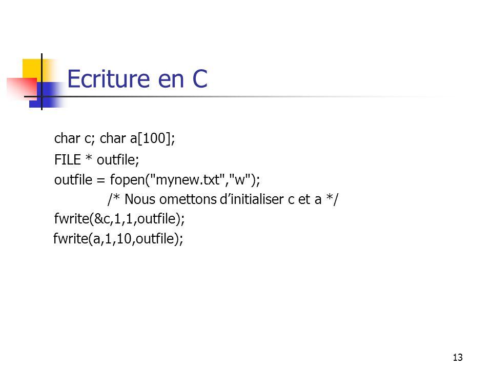 13 Ecriture en C char c; char a[100]; FILE * outfile; outfile = fopen( mynew.txt , w ); /* Nous omettons dinitialiser c et a */ fwrite(&c,1,1,outfile); fwrite(a,1,10,outfile);