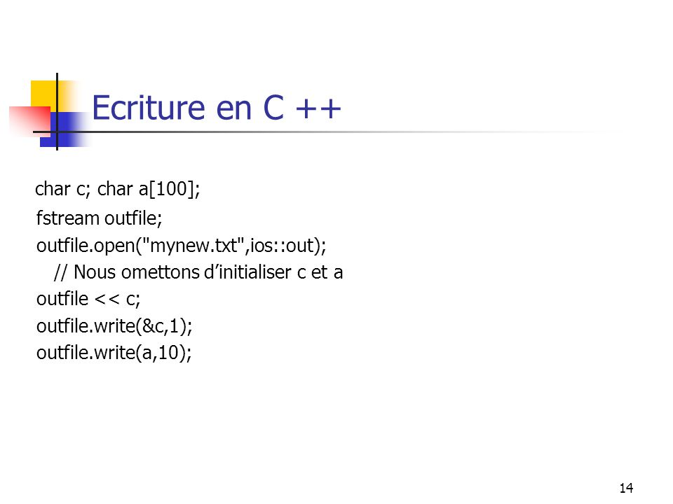 14 Ecriture en C ++ char c; char a[100]; fstream outfile; outfile.open(