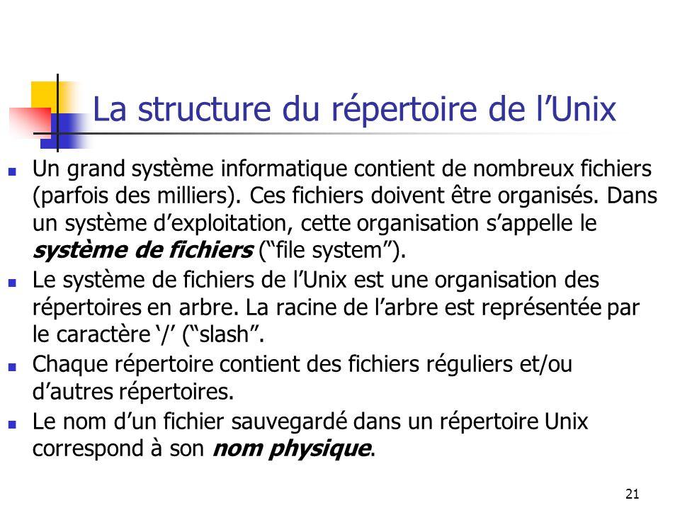 21 La structure du répertoire de lUnix Un grand système informatique contient de nombreux fichiers (parfois des milliers).