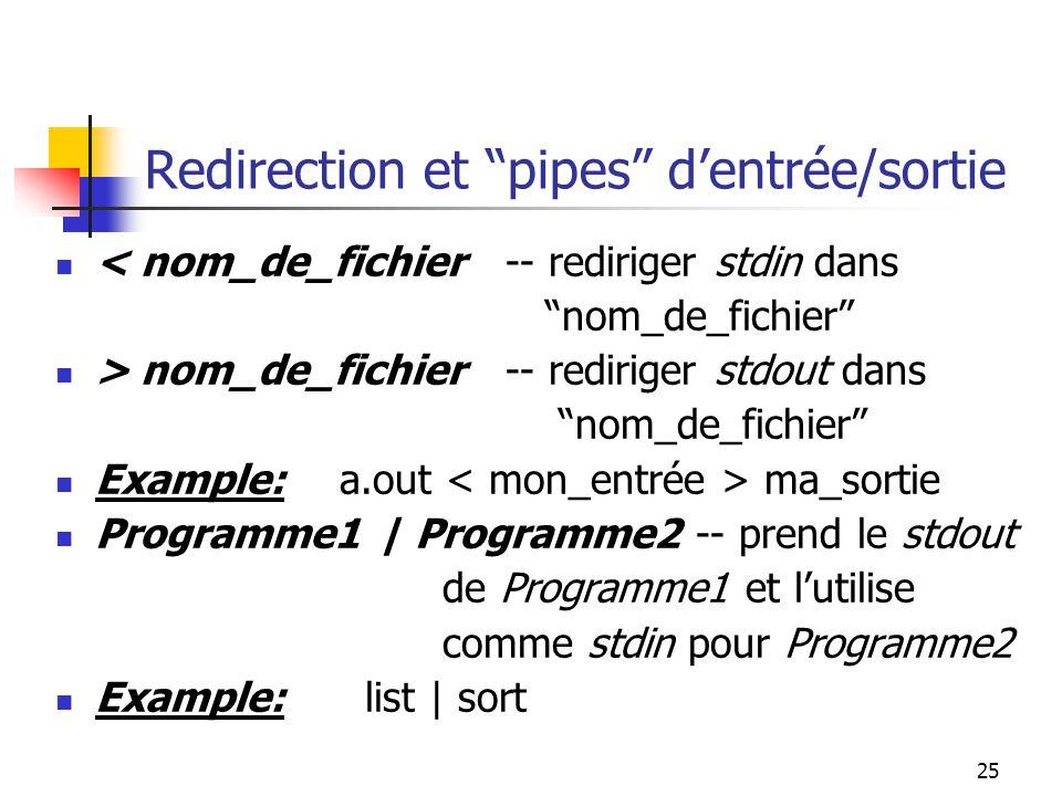 25 Redirection et pipes dentrée/sortie < nom_de_fichier -- rediriger stdin dans nom_de_fichier > nom_de_fichier -- rediriger stdout dans nom_de_fichier Example: a.out ma_sortie Programme1 | Programme2 -- prend le stdout de Programme1 et lutilise comme stdin pour Programme2 Example: list | sort
