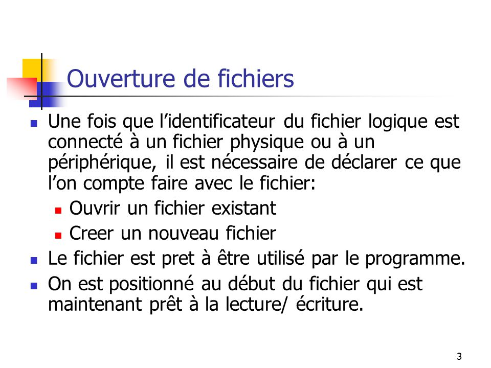 14 Ecriture en C ++ char c; char a[100]; fstream outfile; outfile.open( mynew.txt ,ios::out); // Nous omettons dinitialiser c et a outfile << c; outfile.write(&c,1); outfile.write(a,10);