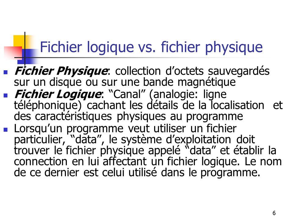 7 Fichier logique vs.