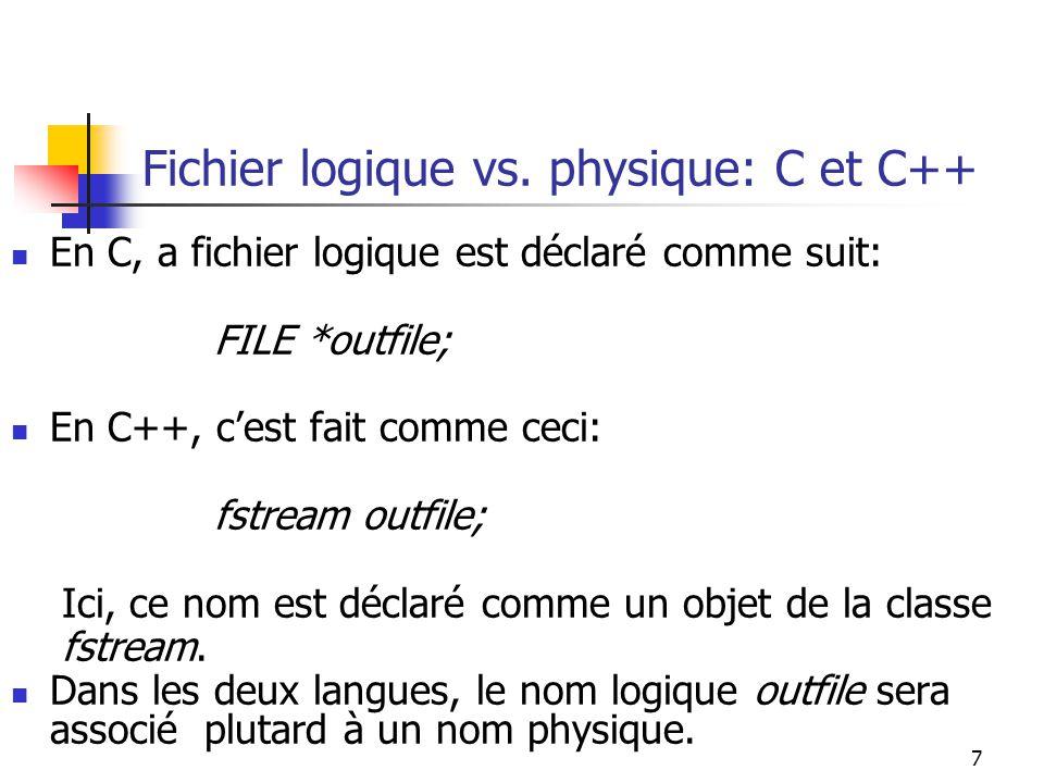 18 Programme – version C++ #include main() { char ch; fstream infile; // declare un nom logique infile.open( A.txt ,ios:in); // attache le nom logique a un nom physique infile.unsetf(ios::skipws); // flag pour inlure les blanks dans la lecture infile >> ch; while (.