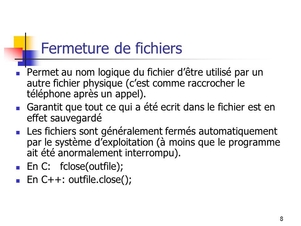 9 Lecture Read(Source _file, Destination_addr, Size) Source_file = location à laquelle le programme commence sa lecture (i.e., son nom de fichier logique) Destination_addr = la première addresse du bloc de mémoire dans lequel les données seront sauvegardées Size = la quantité dinformation arrivant du fichier (le nombre doctets -- MBs)