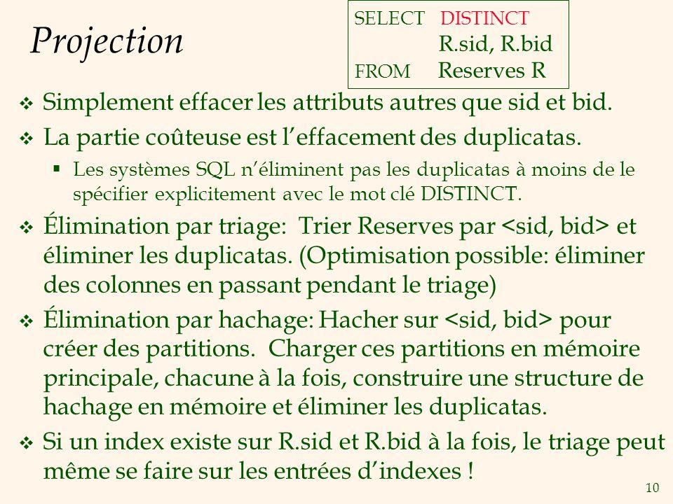 10 Projection Simplement effacer les attributs autres que sid et bid.