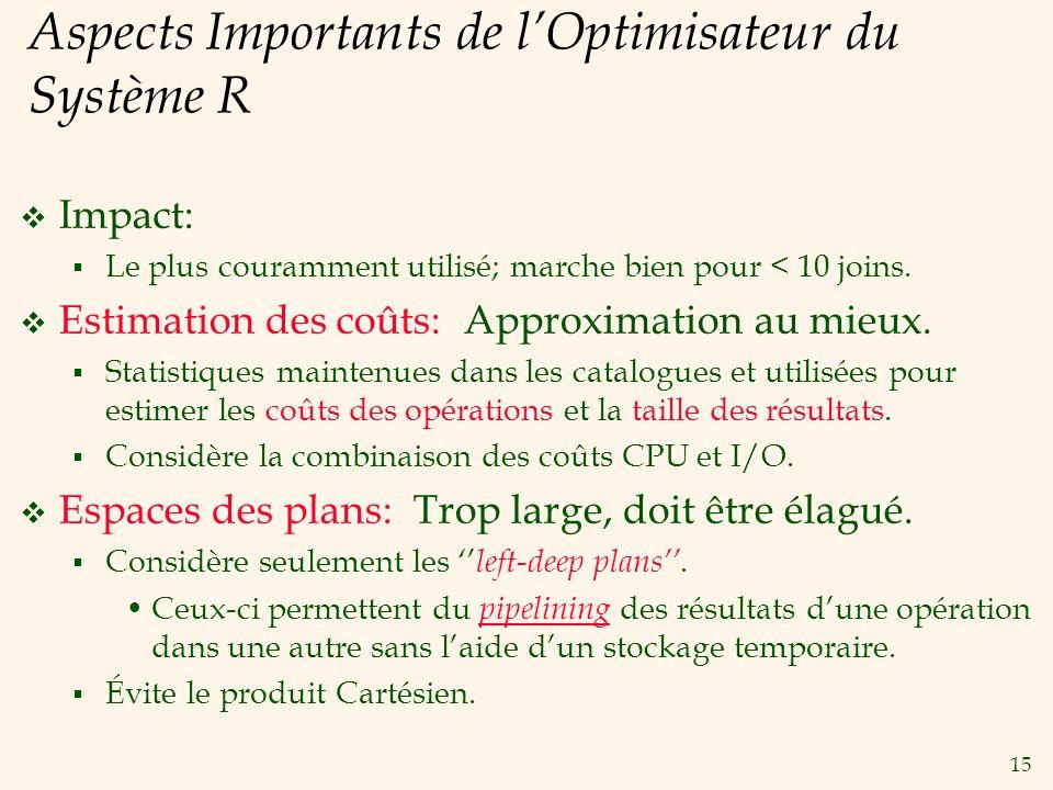 15 Aspects Importants de lOptimisateur du Système R Impact: Le plus couramment utilisé; marche bien pour < 10 joins.