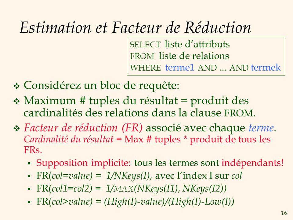 16 Estimation et Facteur de Réduction Considérez un bloc de requête: Maximum # tuples du résultat = produit des cardinalités des relations dans la clause FROM.