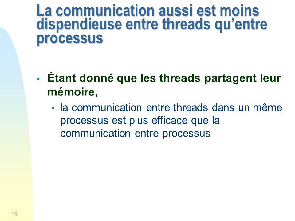 16 La communication aussi est moins dispendieuse entre threads quentre processus Étant donné que les threads partagent leur mémoire, la communication entre threads dans un même processus est plus efficace que la communication entre processus