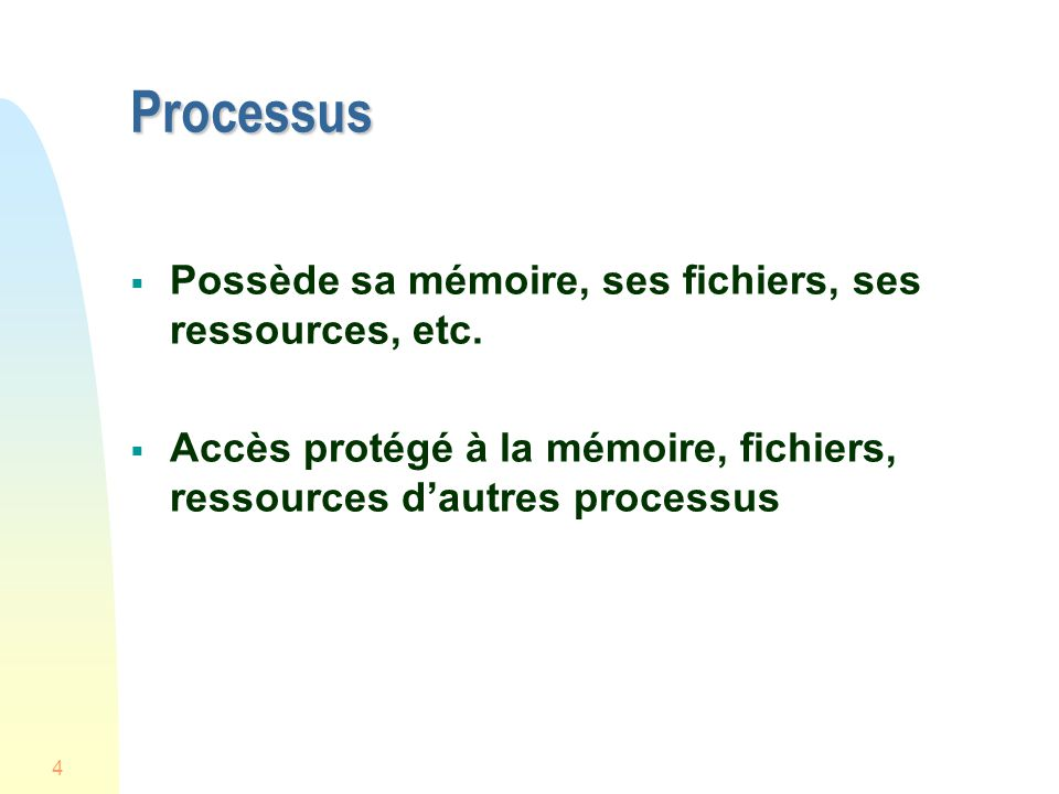 25 Multithreads et monothreads MS-DOS supporte un processus usager à monothread UNIX SVR4 supporte plusieurs processus à monothread Solaris, Widows NT, XP et OS2 supportent plusieurs processus multithreads