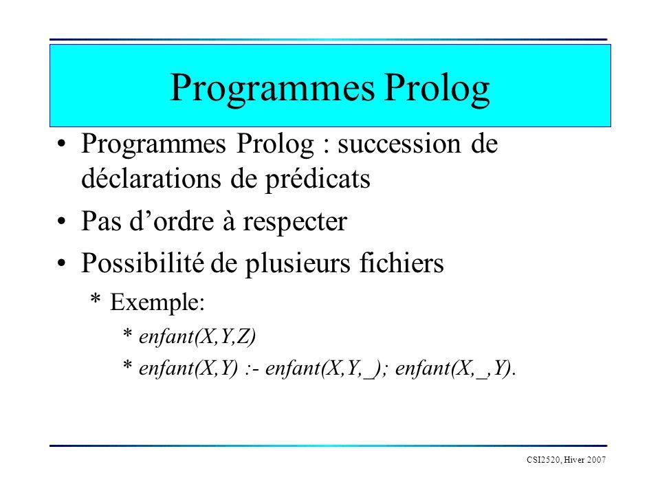CSI2520, Hiver 2007 Clause de Horn Les clauses Horn peuvent exprimer à peu près toute expression logique, même des algorithmes mathématiques.