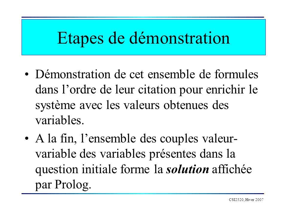 CSI2520, Hiver 2007 Etapes de démonstration Si lunification échoue : situation d échec sur la règle considérée pour démontrer la formule.