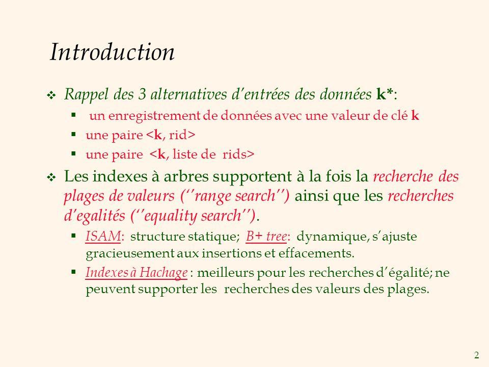 2 Introduction Rappel des 3 alternatives dentrées des données k* : un enregistrement de données avec une valeur de clé k une paire Les indexes à arbre