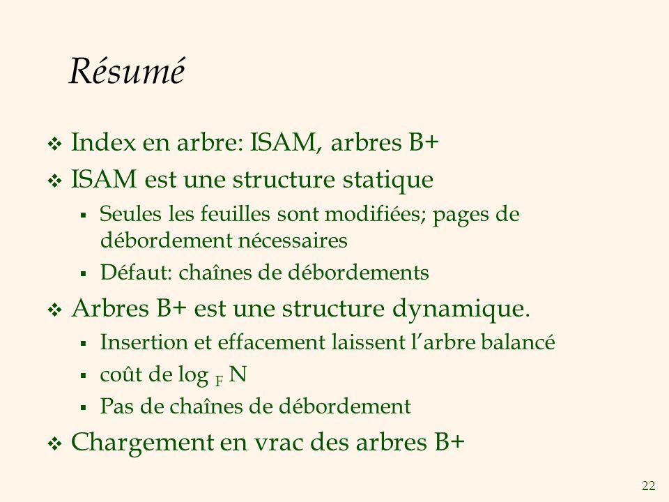 22 Résumé Index en arbre: ISAM, arbres B+ ISAM est une structure statique Seules les feuilles sont modifiées; pages de débordement nécessaires Défaut: