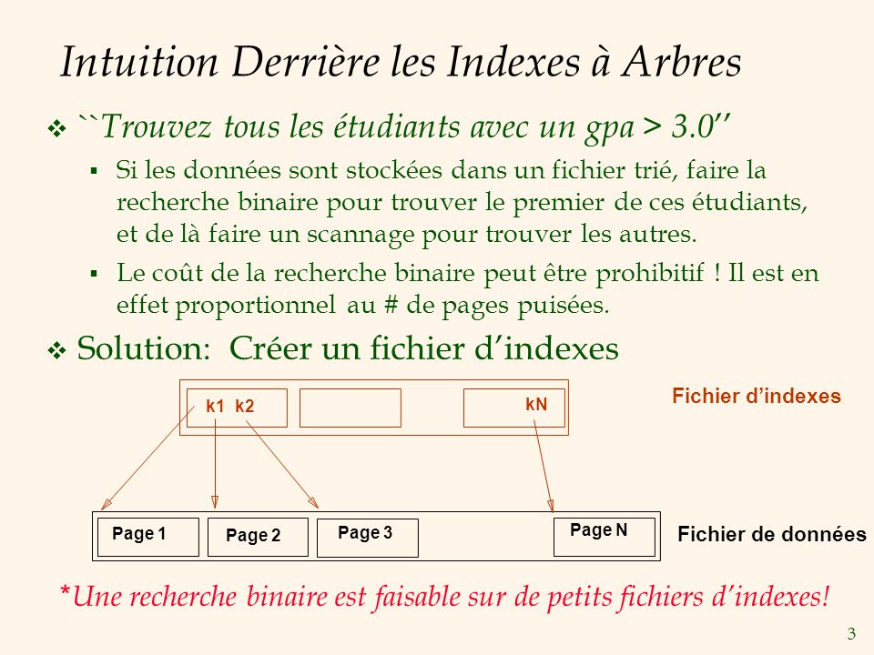 3 Intuition Derrière les Indexes à Arbres `` Trouvez tous les étudiants avec un gpa > 3.0 Si les données sont stockées dans un fichier trié, faire la