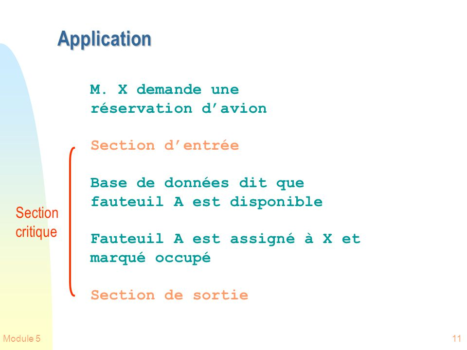 Module 511 Application M. X demande une réservation davion Section dentrée Base de données dit que fauteuil A est disponible Fauteuil A est assigné à