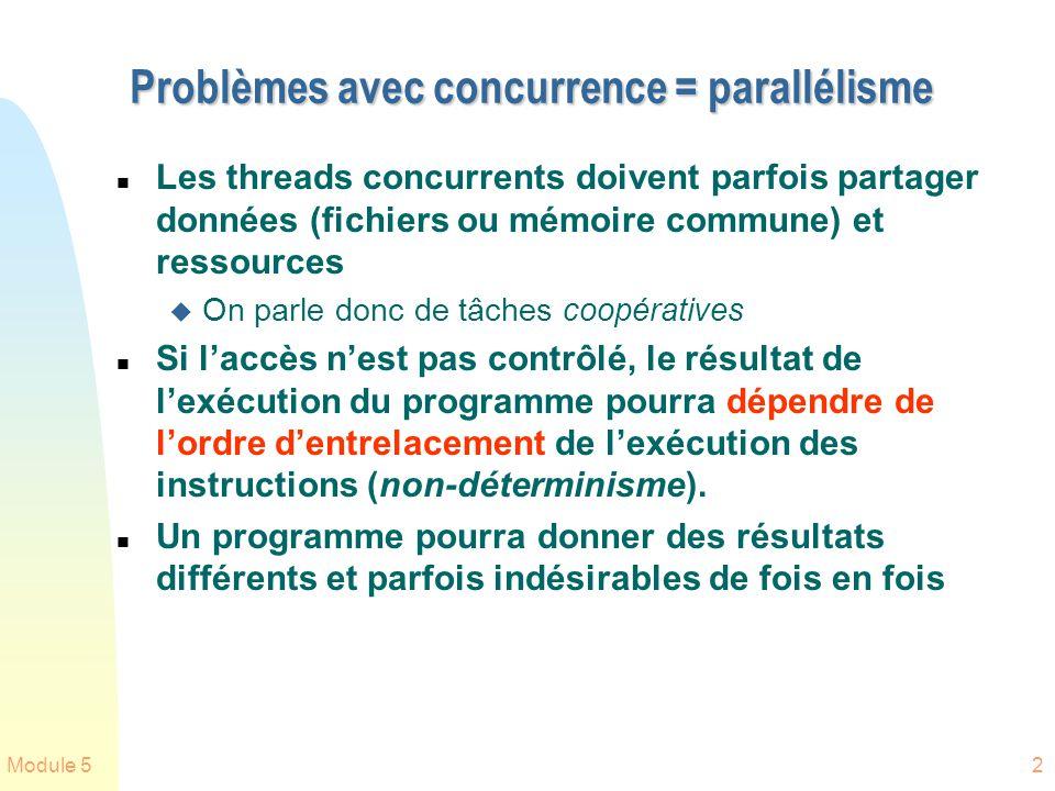 Module 52 Problèmes avec concurrence = parallélisme n Les threads concurrents doivent parfois partager données (fichiers ou mémoire commune) et ressou