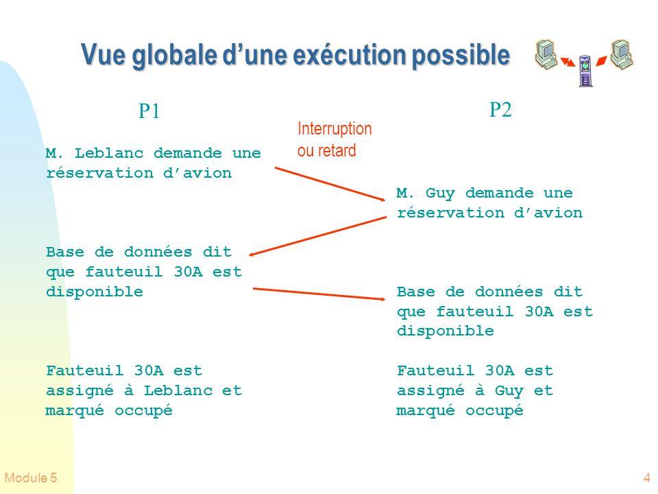 Module 54 Vue globale dune exécution possible M. Guy demande une réservation davion Base de données dit que fauteuil 30A est disponible Fauteuil 30A e