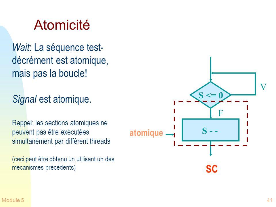 Module 541 Atomicité Wait : La séquence test- décrément est atomique, mais pas la boucle! Signal est atomique. Rappel: les sections atomiques ne peuve