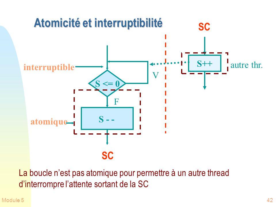 Module 542 Atomicité et interruptibilité S <= 0 atomique S - - F V S++ La boucle nest pas atomique pour permettre à un autre thread dinterrompre lattente sortant de la SC interruptible autre thr.