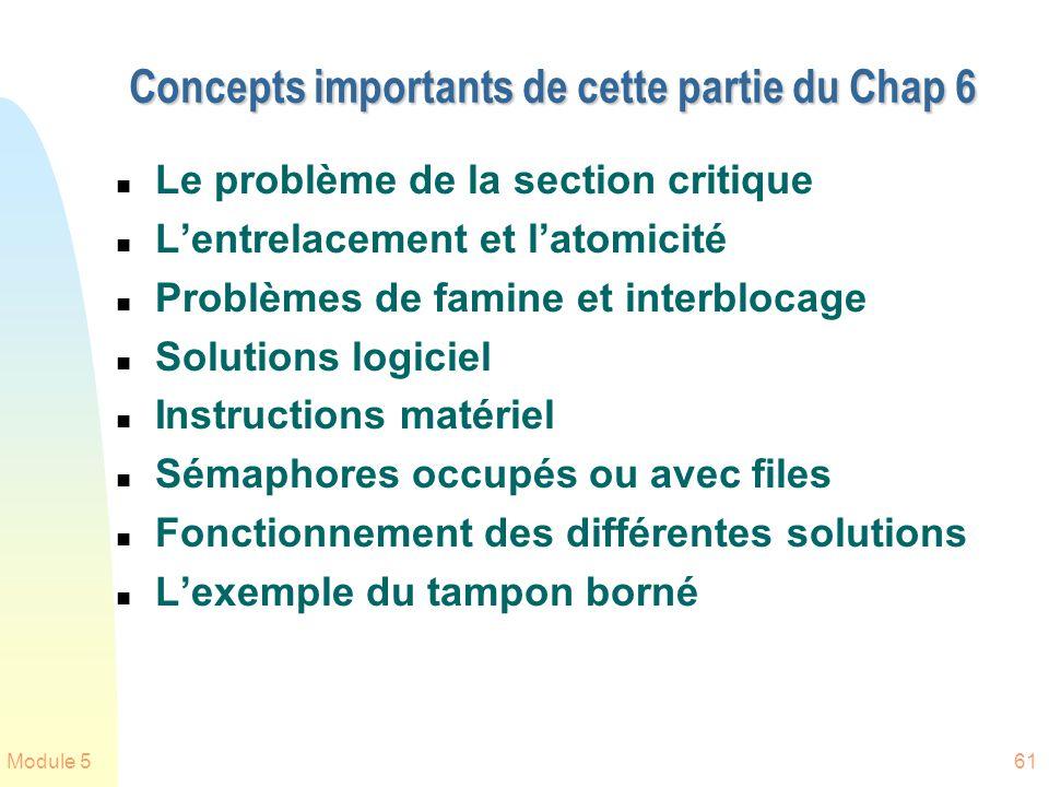 Module 561 Concepts importants de cette partie du Chap 6 n Le problème de la section critique n Lentrelacement et latomicité n Problèmes de famine et