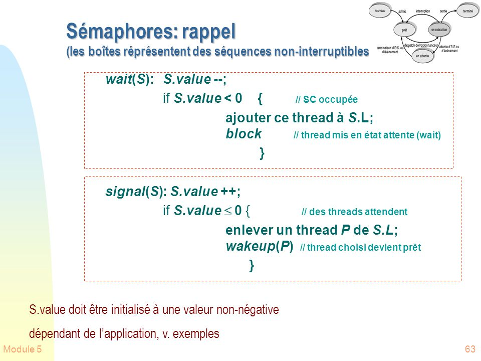 Module 563 Sémaphores: rappel (les boîtes réprésentent des séquences non-interruptibles) wait(S):S.value --; if S.value < 0 { // SC occupée ajouter ce thread à S.L; block // thread mis en état attente (wait) } signal(S): S.value ++; if S.value 0 { // des threads attendent enlever un thread P de S.L; wakeup(P) // thread choisi devient prêt } S.value doit être initialisé à une valeur non-négative dépendant de lapplication, v.