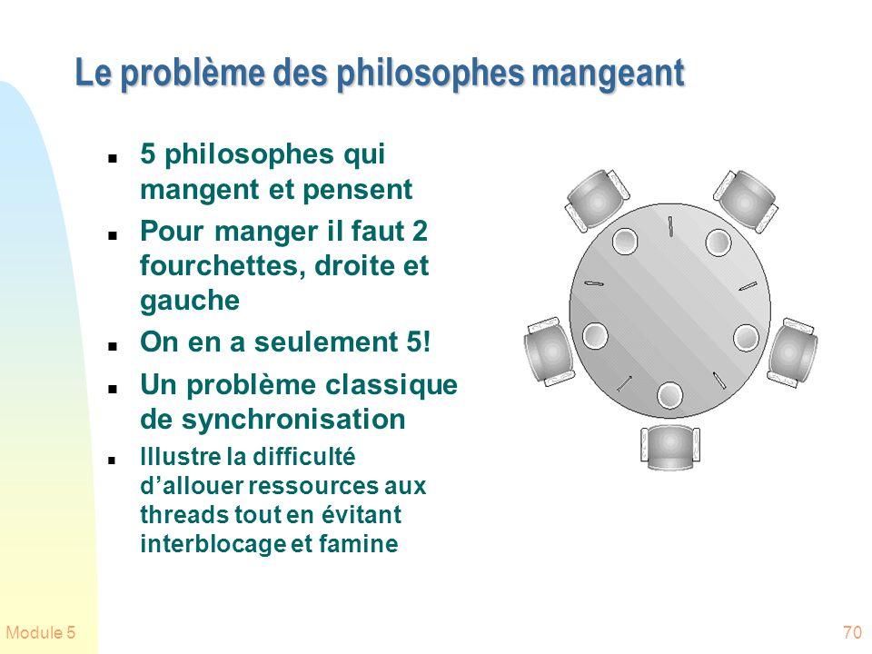 Module 570 Le problème des philosophes mangeant n 5 philosophes qui mangent et pensent n Pour manger il faut 2 fourchettes, droite et gauche n On en a seulement 5.