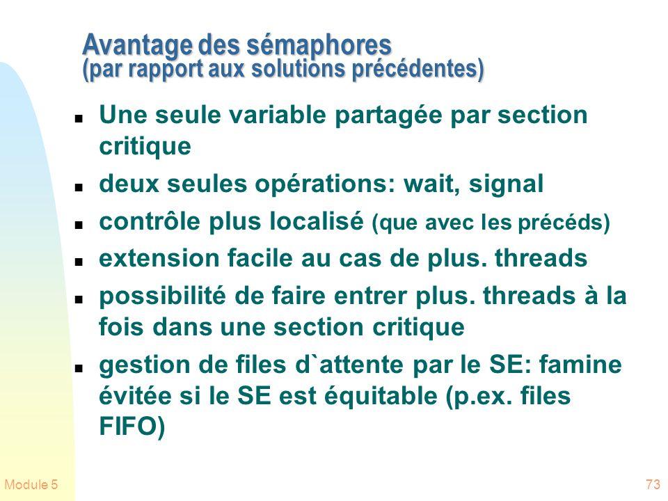 Module 573 Avantage des sémaphores (par rapport aux solutions précédentes) n Une seule variable partagée par section critique n deux seules opérations: wait, signal n contrôle plus localisé (que avec les précéds) n extension facile au cas de plus.