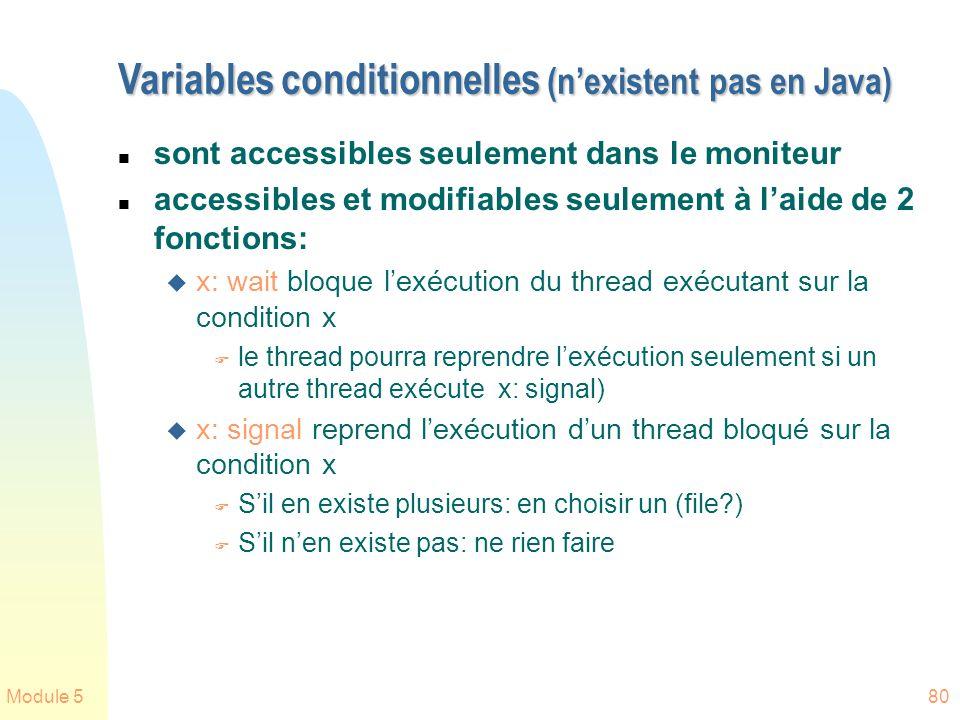 Module 580 Variables conditionnelles (nexistent pas en Java) n sont accessibles seulement dans le moniteur n accessibles et modifiables seulement à laide de 2 fonctions: u x: wait bloque lexécution du thread exécutant sur la condition x F le thread pourra reprendre lexécution seulement si un autre thread exécute x: signal) u x: signal reprend lexécution dun thread bloqué sur la condition x F Sil en existe plusieurs: en choisir un (file?) F Sil nen existe pas: ne rien faire