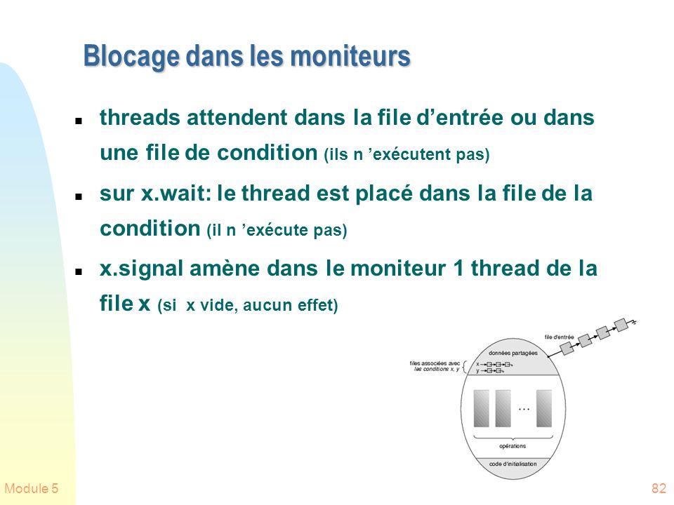 Module 582 Blocage dans les moniteurs n threads attendent dans la file dentrée ou dans une file de condition (ils n exécutent pas) n sur x.wait: le th
