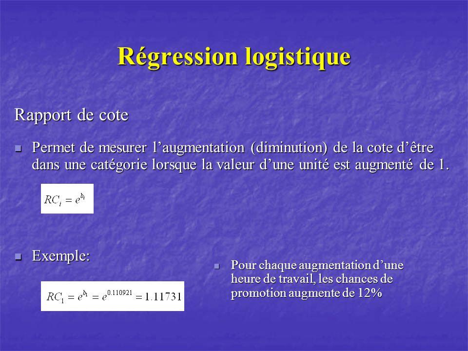 Régression logistique Rapport de cote Permet de mesurer laugmentation (diminution) de la cote dêtre dans une catégorie lorsque la valeur dune unité es