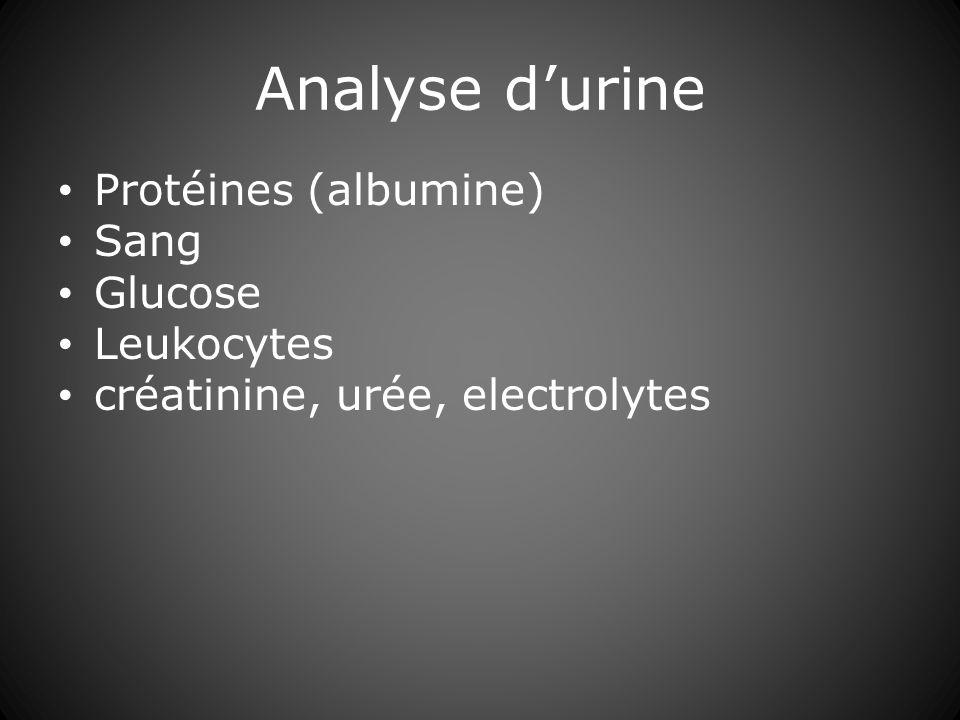 Analyse durine Protéines (albumine) Sang Glucose Leukocytes créatinine, urée, electrolytes