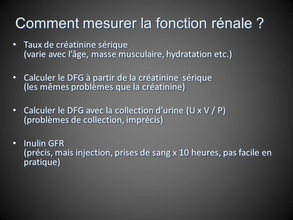 Taux de créatinine sérique (varie avec lâge, masse musculaire, hydratation etc.) Calculer le DFG à partir de la créatinine sérique (les mêmes problèmes que la créatinine) Calculer le DFG avec la collection durine (U x V / P) (problèmes de collection, imprécis) Inulin GFR (précis, mais injection, prises de sang x 10 heures, pas facile en pratique) Taux de créatinine sérique (varie avec lâge, masse musculaire, hydratation etc.) Calculer le DFG à partir de la créatinine sérique (les mêmes problèmes que la créatinine) Calculer le DFG avec la collection durine (U x V / P) (problèmes de collection, imprécis) Inulin GFR (précis, mais injection, prises de sang x 10 heures, pas facile en pratique)