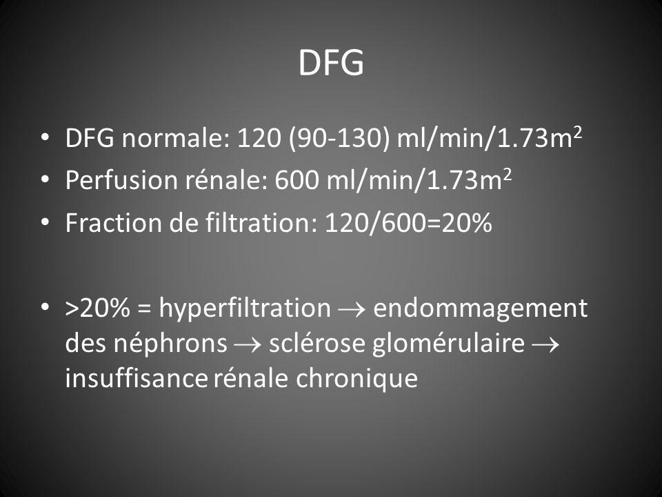 DFG DFG normale: 120 (90-130) ml/min/1.73m 2 Perfusion rénale: 600 ml/min/1.73m 2 Fraction de filtration: 120/600=20% >20% = hyperfiltration endommagement des néphrons sclérose glomérulaire insuffisance rénale chronique
