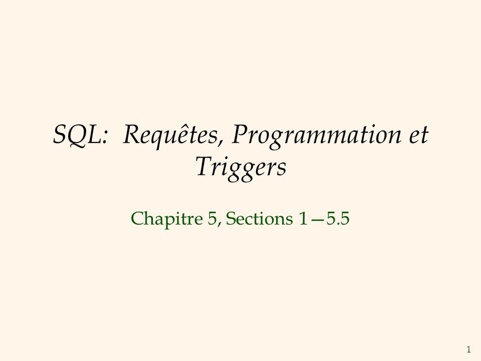 1 SQL: Requêtes, Programmation et Triggers Chapitre 5, Sections 15.5