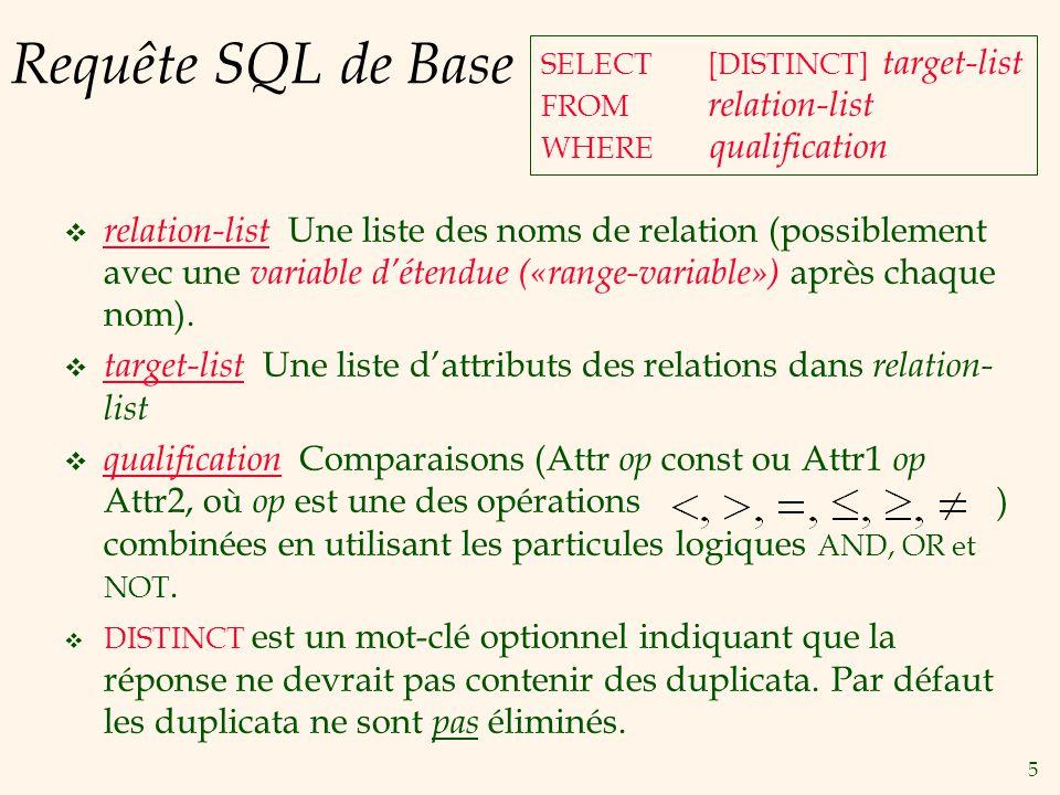 5 Requête SQL de Base relation-list Une liste des noms de relation (possiblement avec une variable détendue («range-variable») après chaque nom).