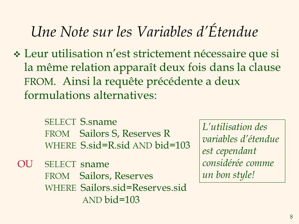 8 Une Note sur les Variables dÉtendue Leur utilisation nest strictement nécessaire que si la même relation apparaît deux fois dans la clause FROM.