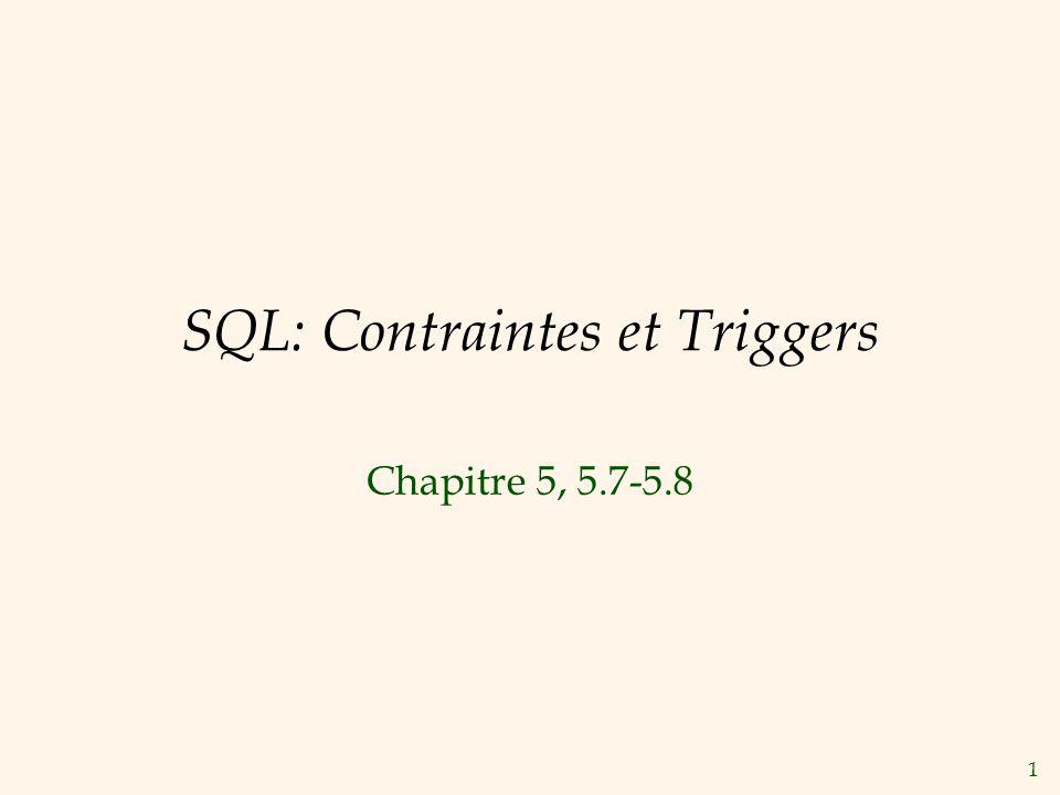 1 SQL: Contraintes et Triggers Chapitre 5, 5.7-5.8