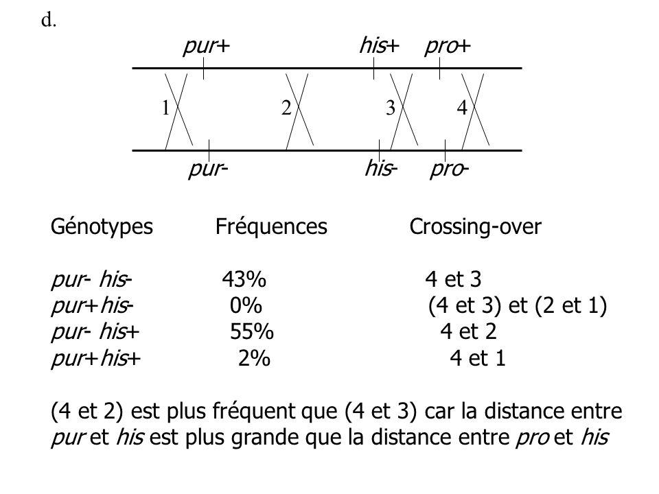 d. GénotypesFréquencesCrossing-over pur- his- 43% 4 et 3 pur+his- 0% (4 et 3) et (2 et 1) pur- his+ 55% 4 et 2 pur+his+ 2% 4 et 1 (4 et 2) est plus fr