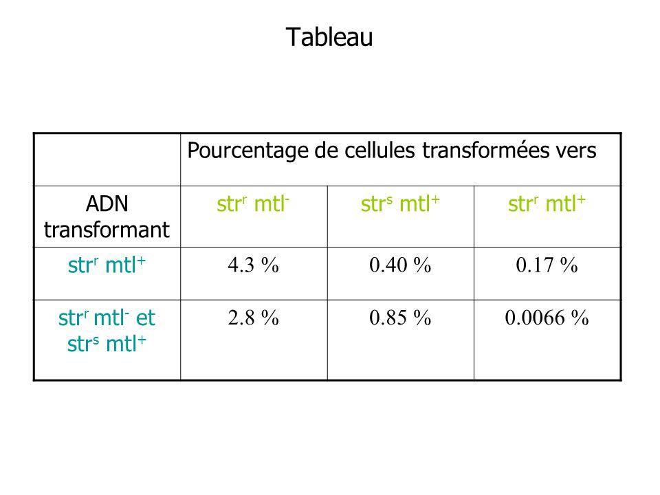 Tableau Pourcentage de cellules transformées vers ADN transformant str r mtl - str s mtl + str r mtl + 4.3 %0.40 %0.17 % str r mtl - et str s mtl + 2.