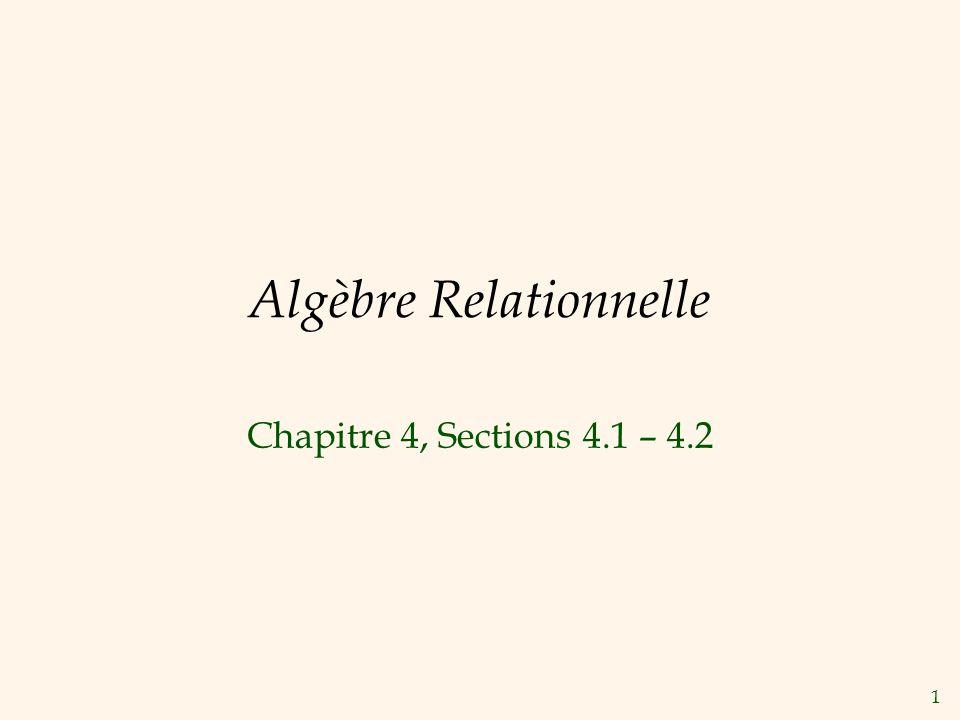 1 Algèbre Relationnelle Chapitre 4, Sections 4.1 – 4.2