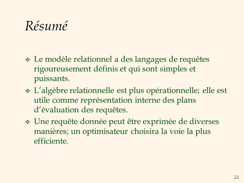 21 Résumé Le modèle relationnel a des langages de requêtes rigoureusement définis et qui sont simples et puissants.