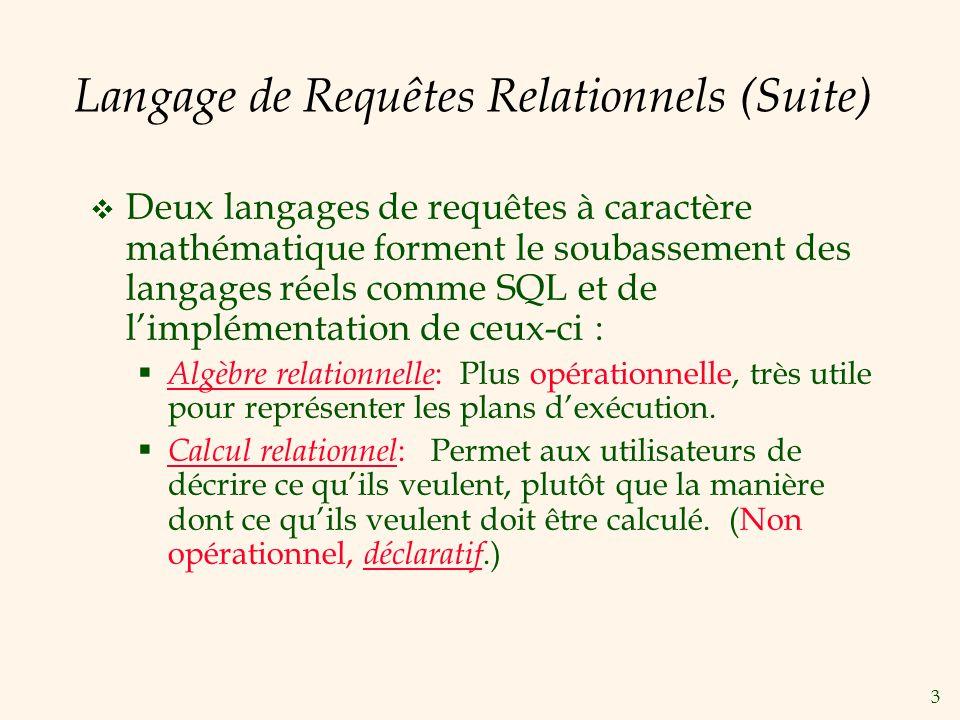 3 Langage de Requêtes Relationnels (Suite) Deux langages de requêtes à caractère mathématique forment le soubassement des langages réels comme SQL et de limplémentation de ceux-ci : Algèbre relationnelle : Plus opérationnelle, très utile pour représenter les plans dexécution.