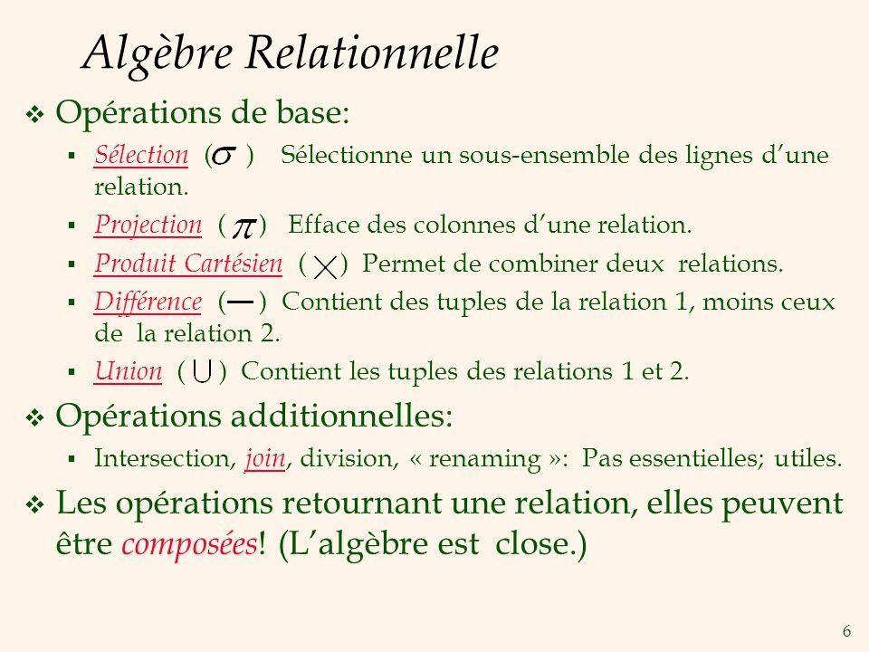 6 Algèbre Relationnelle Opérations de base: Sélection ( ) Sélectionne un sous-ensemble des lignes dune relation.