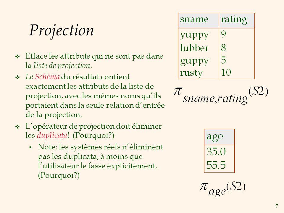 7 Projection Efface les attributs qui ne sont pas dans la liste de projection.