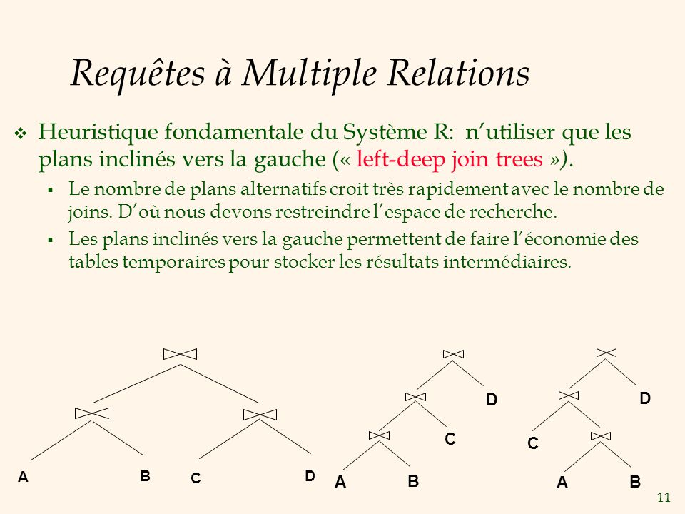 11 Requêtes à Multiple Relations Heuristique fondamentale du Système R: nutiliser que les plans inclinés vers la gauche (« left-deep join trees »).