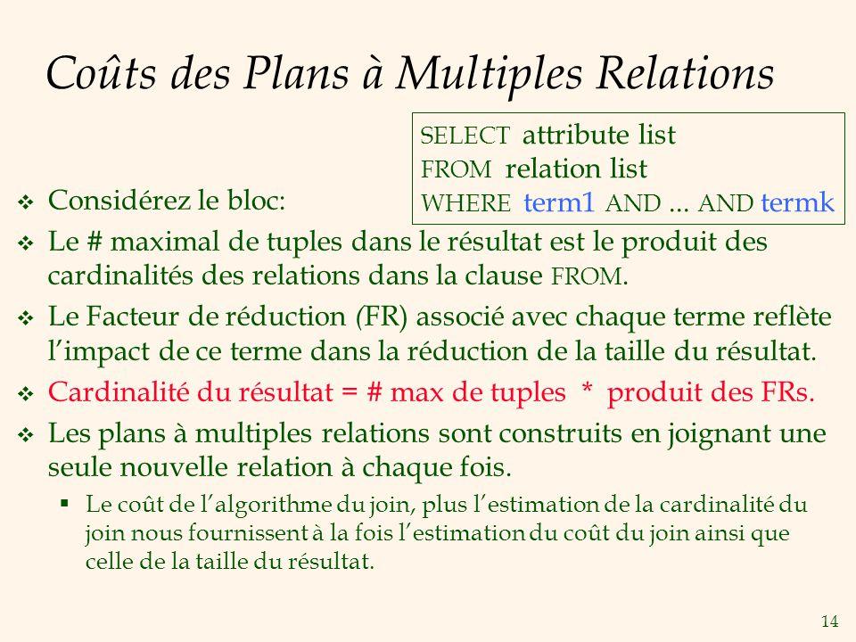 14 Coûts des Plans à Multiples Relations Considérez le bloc: Le # maximal de tuples dans le résultat est le produit des cardinalités des relations dans la clause FROM.
