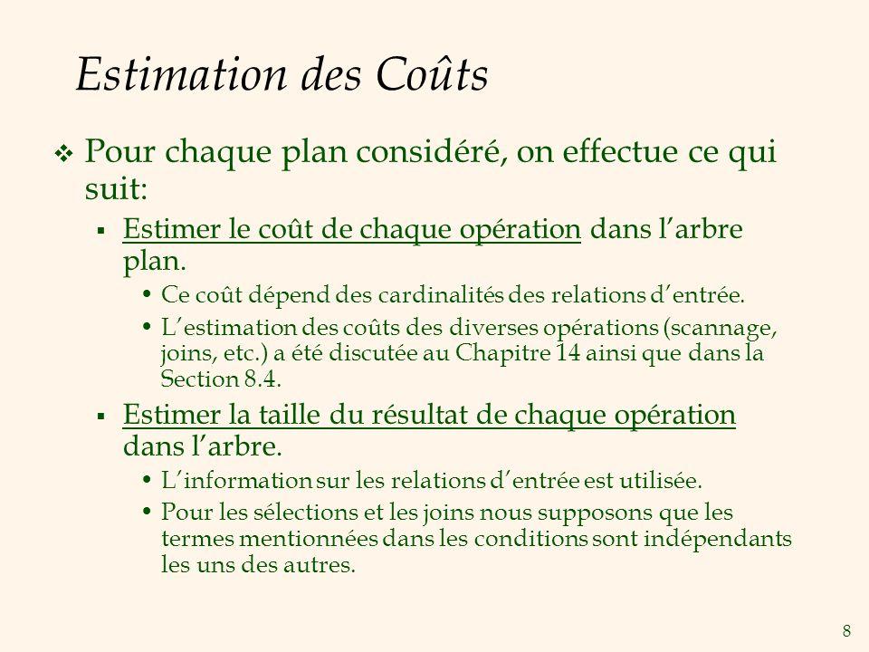 8 Estimation des Coûts Pour chaque plan considéré, on effectue ce qui suit: Estimer le coût de chaque opération dans larbre plan.